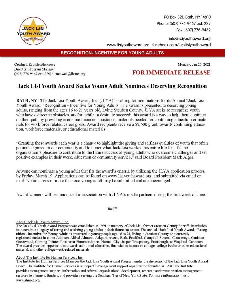 JLYA Nominations Press Release 2021 781x1024 - Jack Lisi Youth Award Seeks Nominees