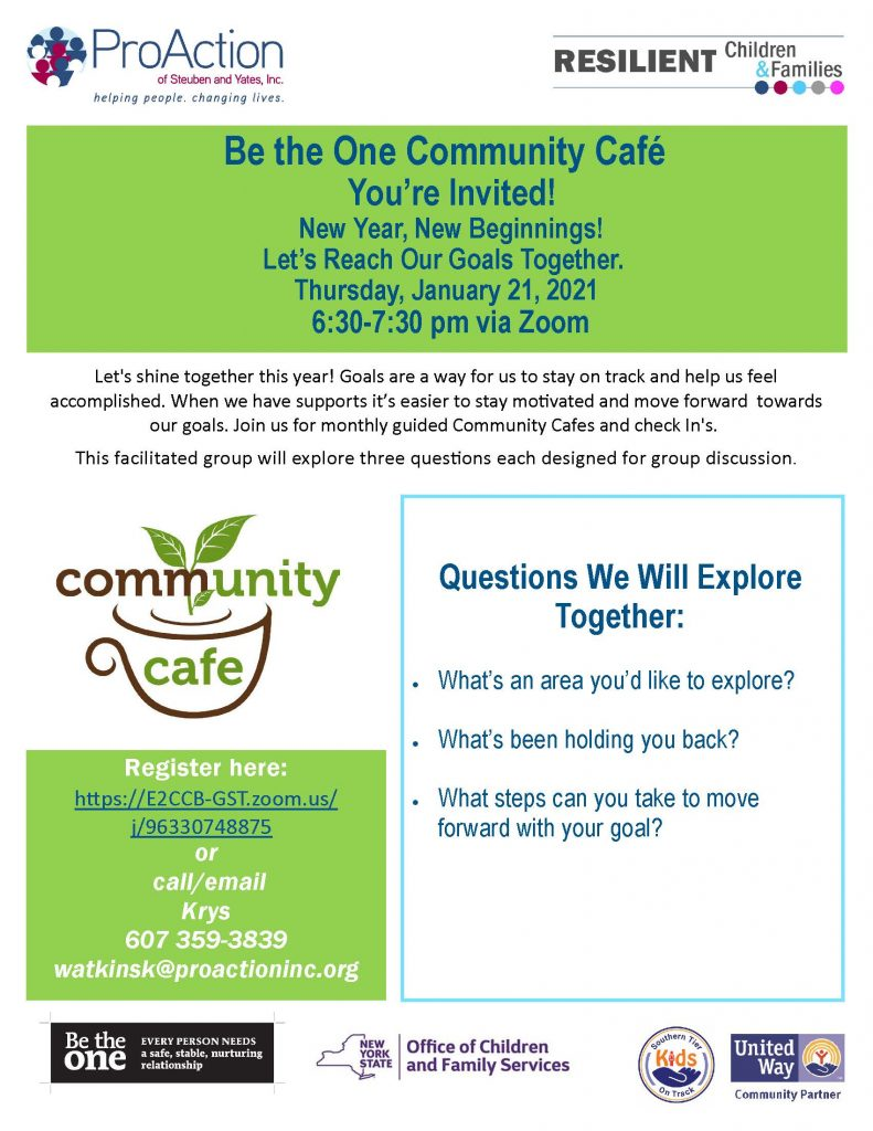 JMFRC BETHEONECAFE JAN2021 791x1024 - Upcoming Virtual Cafes, Parent Education, and Events from Pro Action