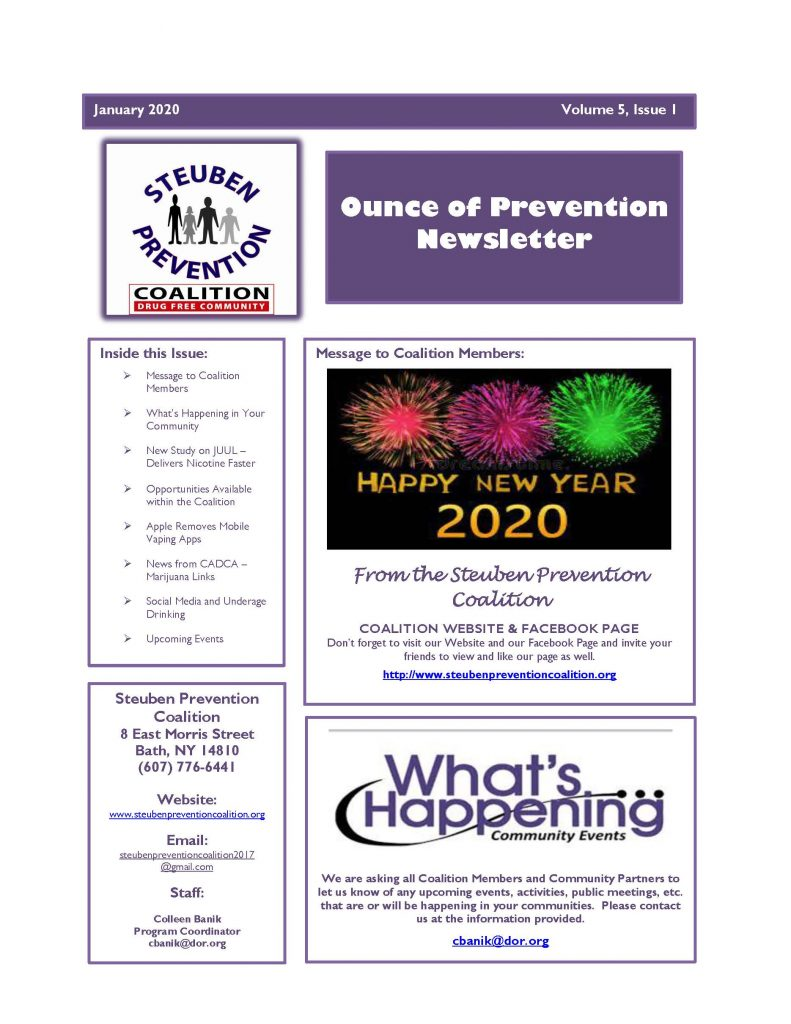 January 2020 Newsletter Page 1 791x1024 - Steuben Prevention Coaliton - Ounce of Prevention Newsletter