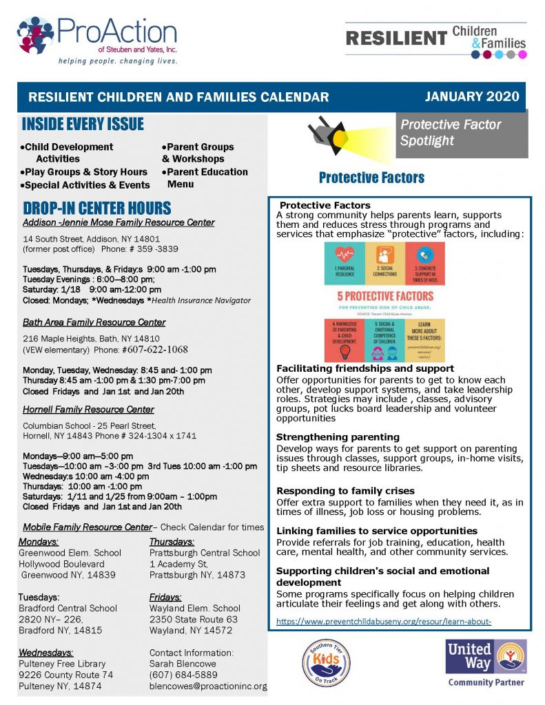 January 2020 Resilient Children and Families Community Calendar Page 1 791x1024 - ProAction Resilient Children and Families Calendar