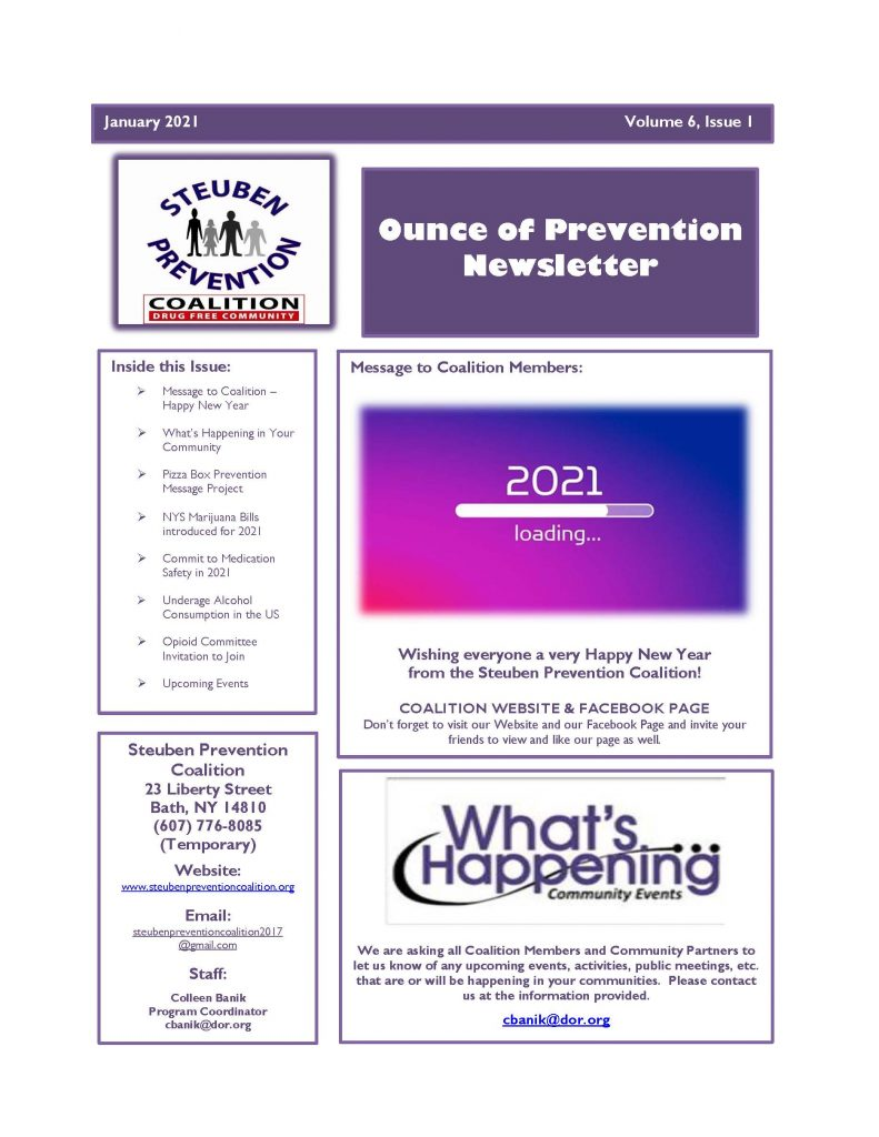 January 2021 Newsletter Page 1 791x1024 - Steuben Prevention Coalition - Ounce of Prevention (January)