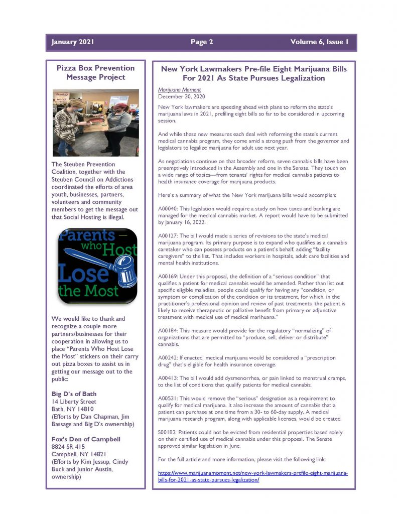 January 2021 Newsletter Page 2 791x1024 - Steuben Prevention Coalition - Ounce of Prevention (January)