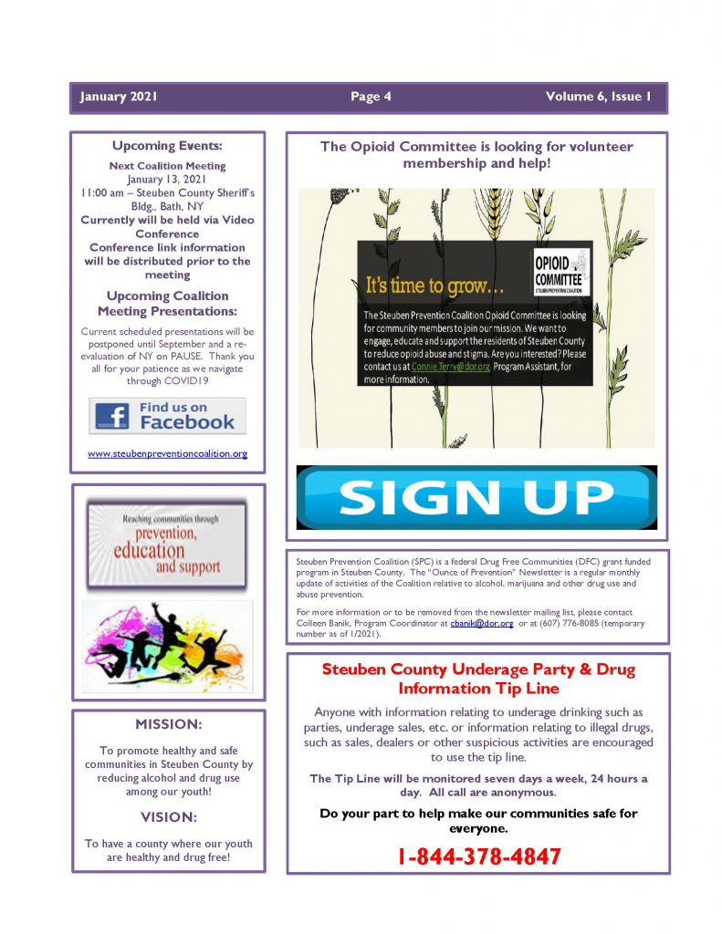 January 2021 Newsletter Page 4 791x1024 - Steuben Prevention Coalition - Ounce of Prevention (January)