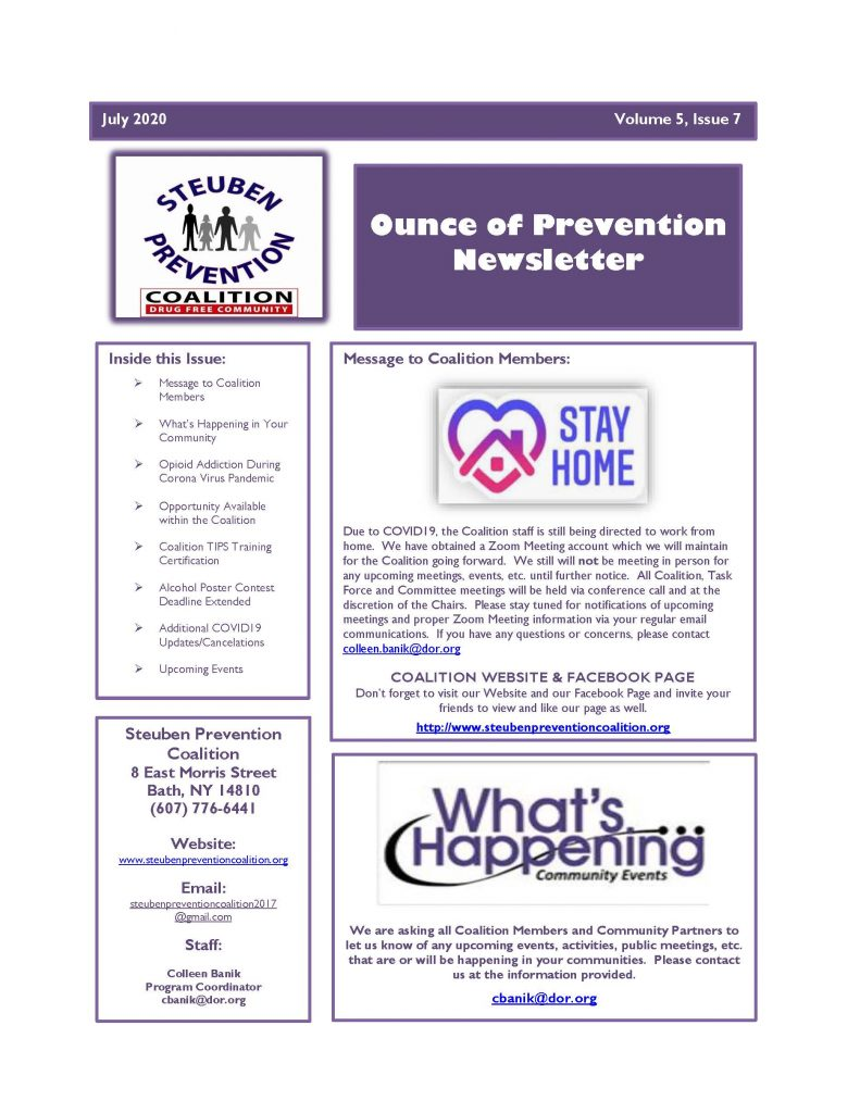 July 2020 Newsletter Page 1 791x1024 - Steuben Prevention Coalition - Ounce of Prevention (July)