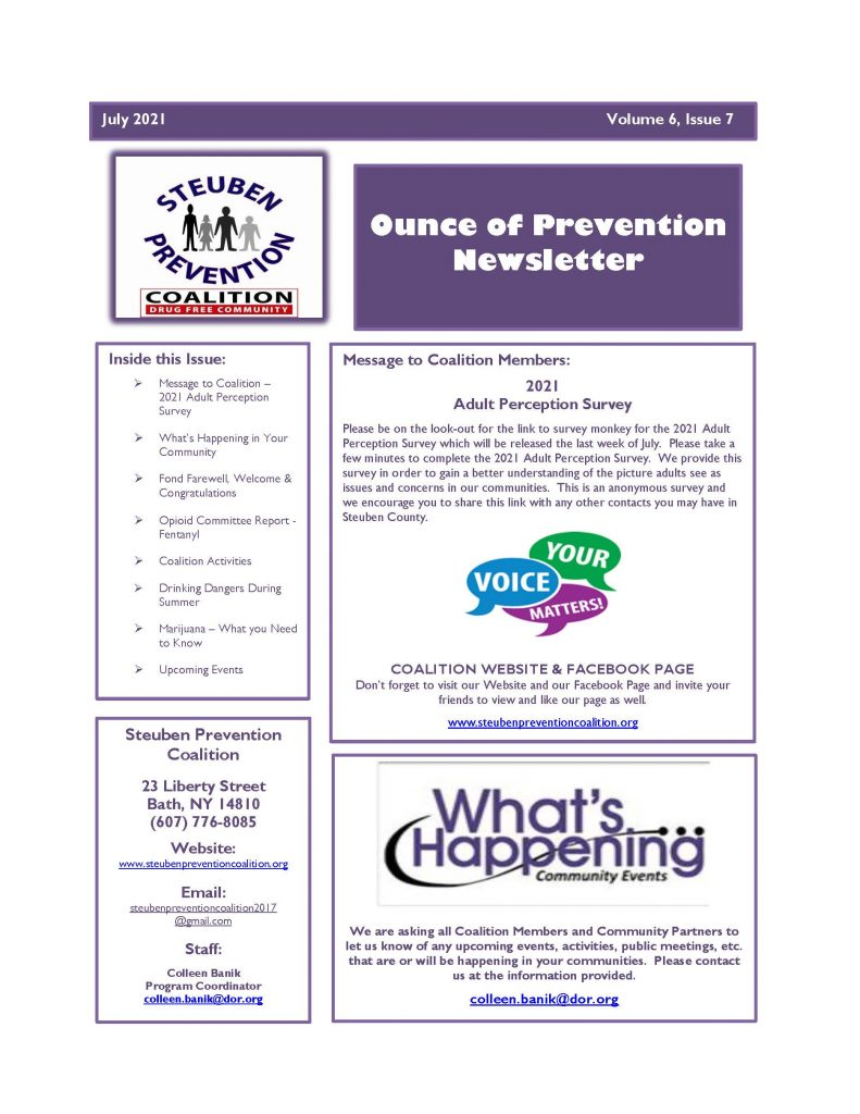 July 2021 Newsletter Page 1 791x1024 - Steuben Prevention Coalition - In the Know (July)