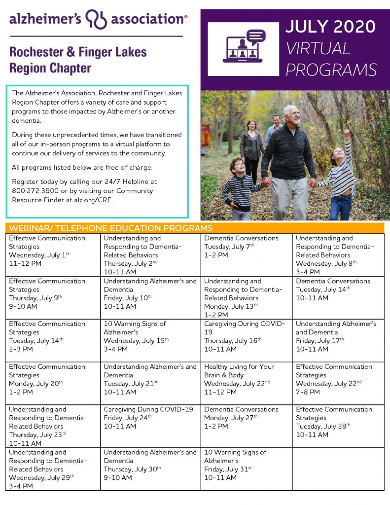 July Calendar Page 1 791x1024 - Alzheimer's Association Resources and Upcoming Events