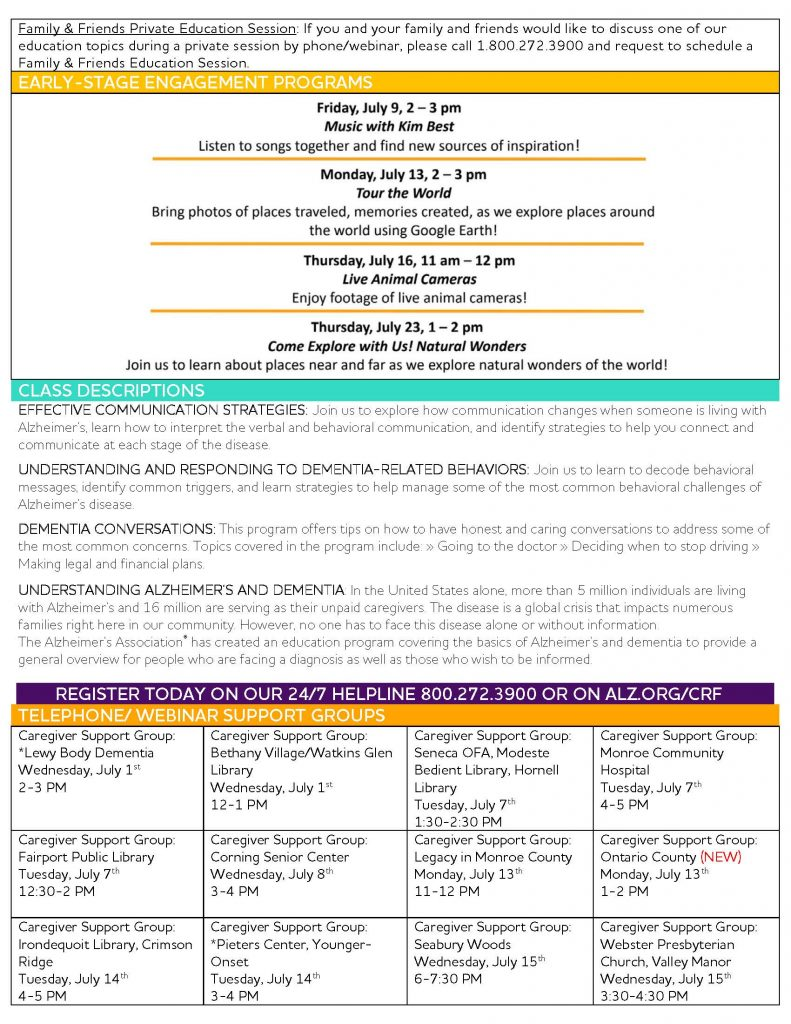 July Calendar Page 2 791x1024 - Alzheimer's Association Resources and Upcoming Events