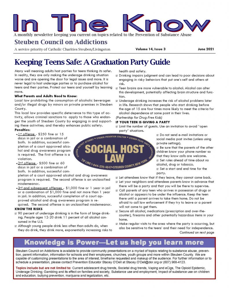 June 21 Page 1 791x1024 - Steuben Council on Addictions - In the Know (June)