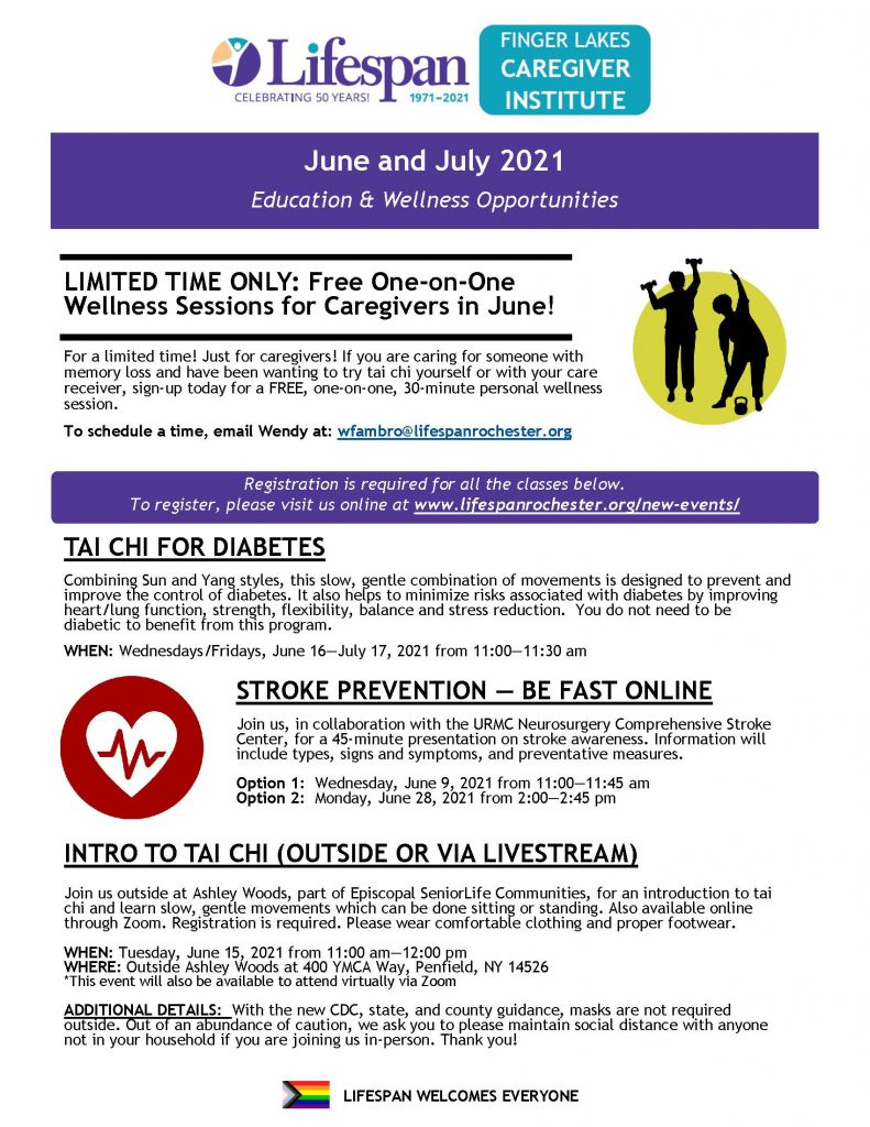 June July 2021 FLCI Education   Wellness Page 1 791x1024 - Finger Lakes Caregiver Institute - One-on-One Training Available
