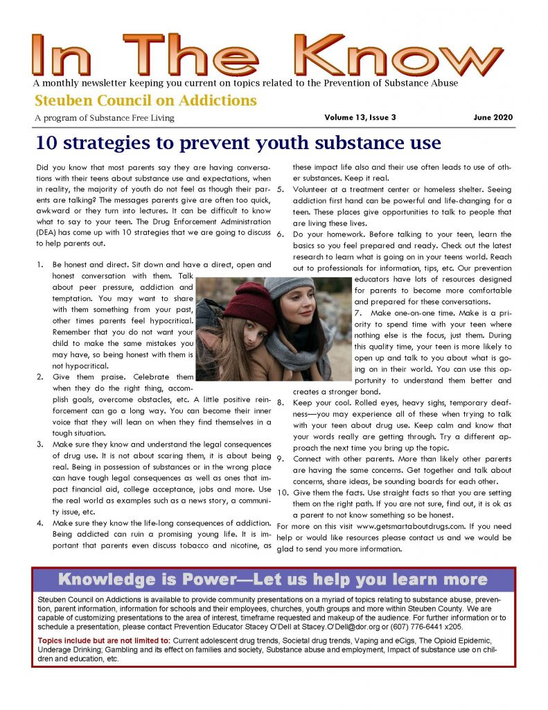 June Page 1 791x1024 - Steuben Council on Addictions - In the Know (June)