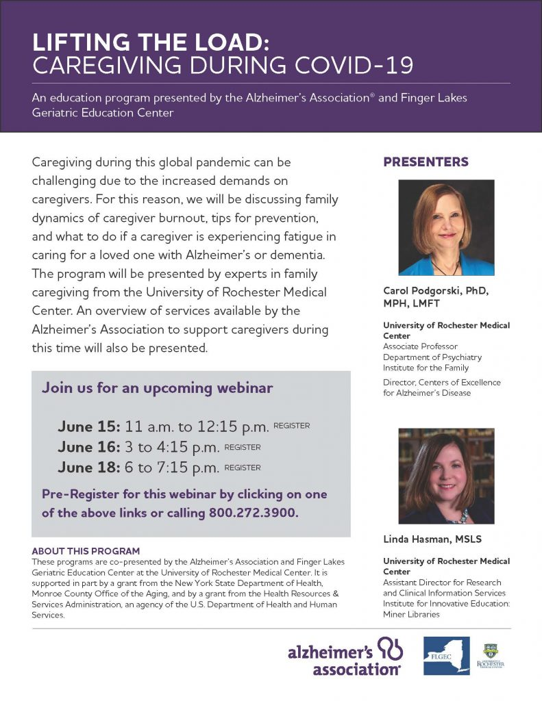 Lifting the Load 2020 791x1024 - Alzheimer's Association to Host COVID-19 Caregiver Webinar