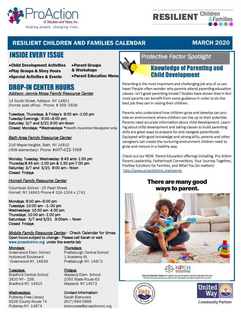 MARCH 2020 Resilient Children and Families Community Calendar Page 1 791x1024 - ProAction Resilient Children & Families Calendar