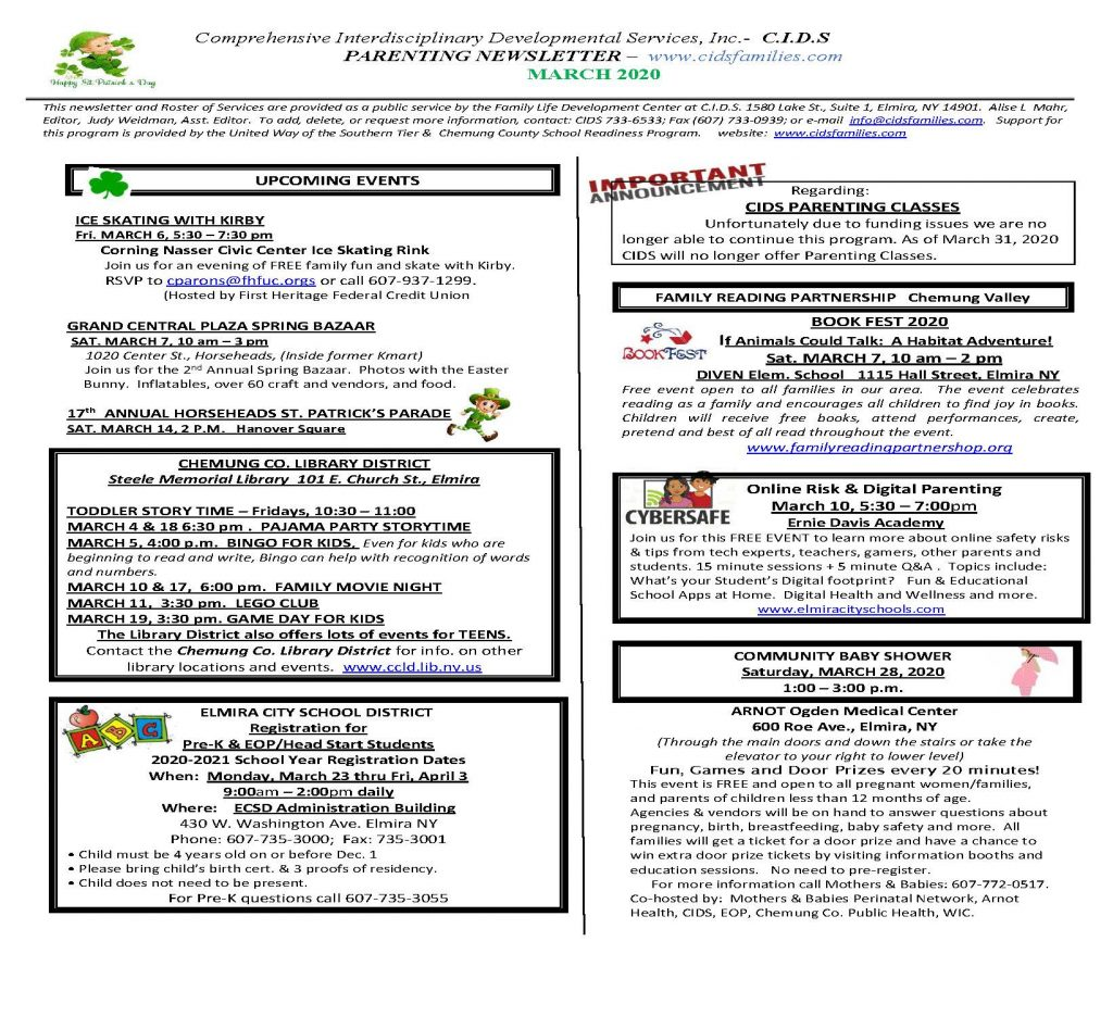 MARCH 2020 Page 1 1024x947 - CIDS Parenting Newsletter (March)