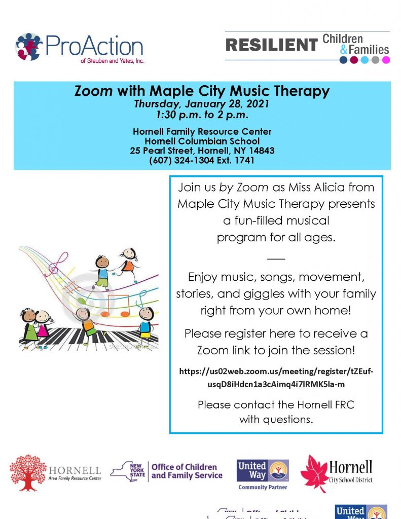 Maple City Music Therapy JANUARY 2021 on ZOOM Hornell FRC 1 791x1024 - Upcoming Virtual Cafes, Parent Education, and Events from Pro Action