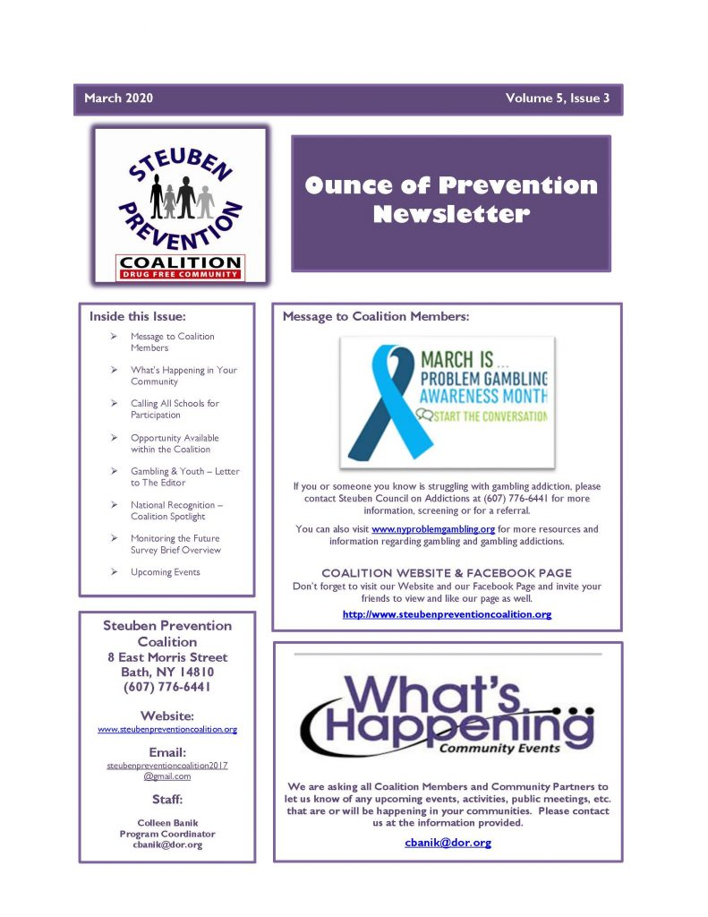 March 2020 Newsletter Page 1 791x1024 - Steuben Prevention Coalition - Ounce of Prevention