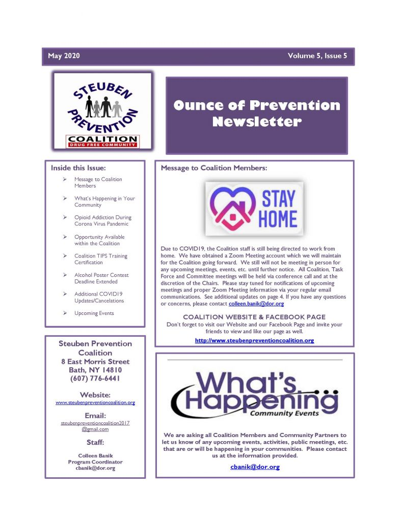 May 2020 Newsletter Page 1 791x1024 - Steuben Prevention Coalition - Ounce of Prevention