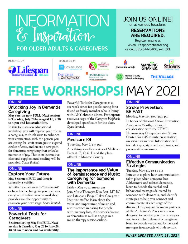 May 2021 II Page 1 791x1024 - Lifespan Offers Information & Inspiration Workshop Sessions