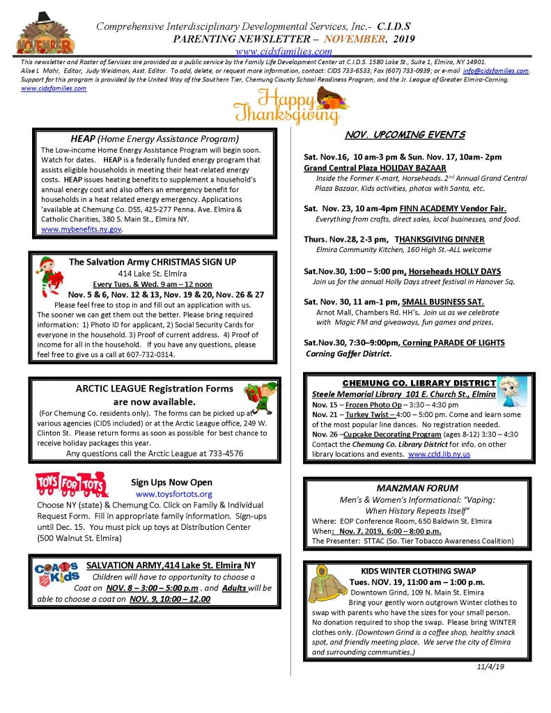 NOVEMBER newsletter  Page 1 791x1024 - CIDS November News and Services Roster