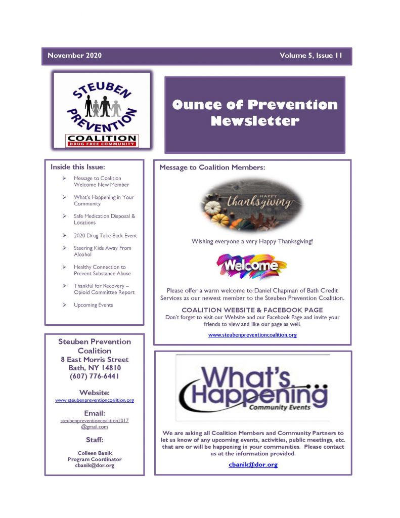 November 2020 Newsletter 1 Page 1 791x1024 - Steuben Prevention Coalition - Ounce of Prevention (November)