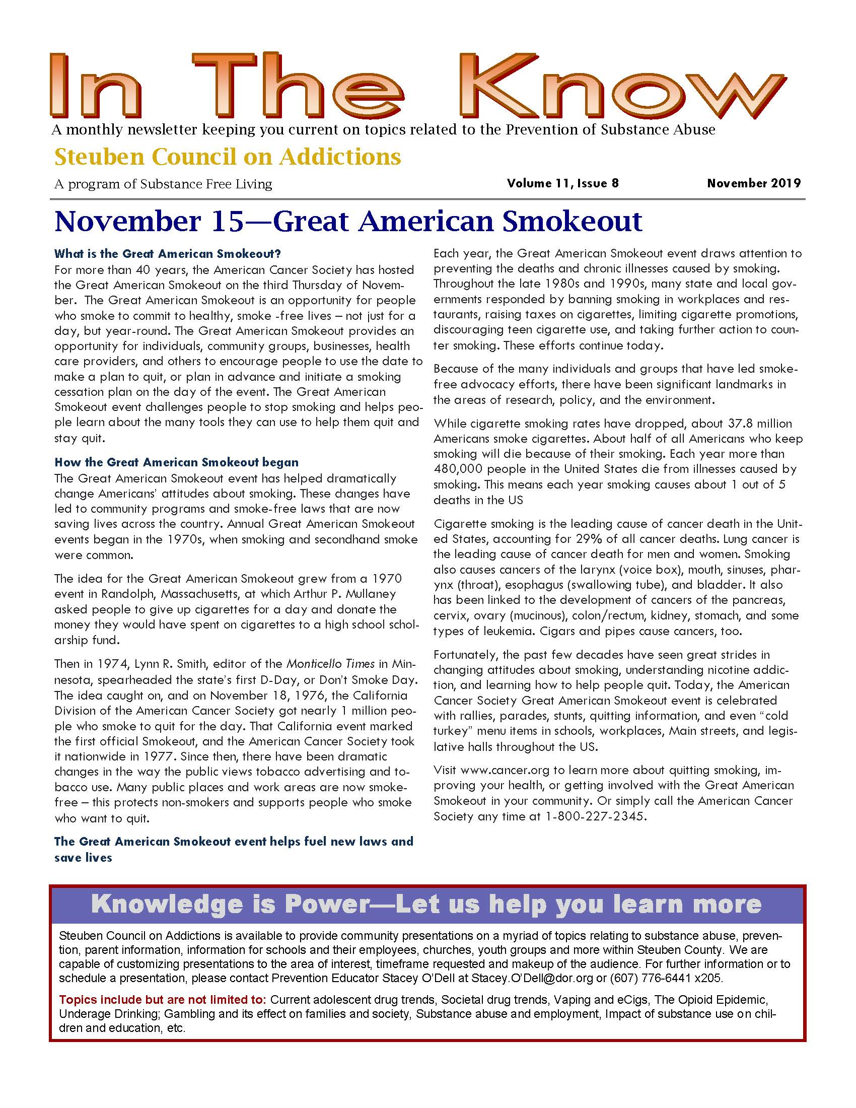 November In the Know Page 1 - In The Know - Steuben Council on Addictions