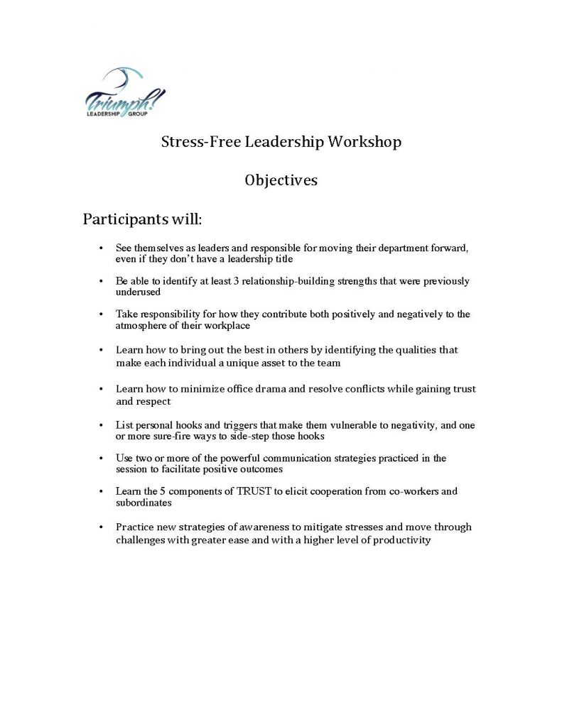 Objectives for Stress Free Leadership workshop 791x1024 - Triumph Leadership Offers Socially Distanced Presentations