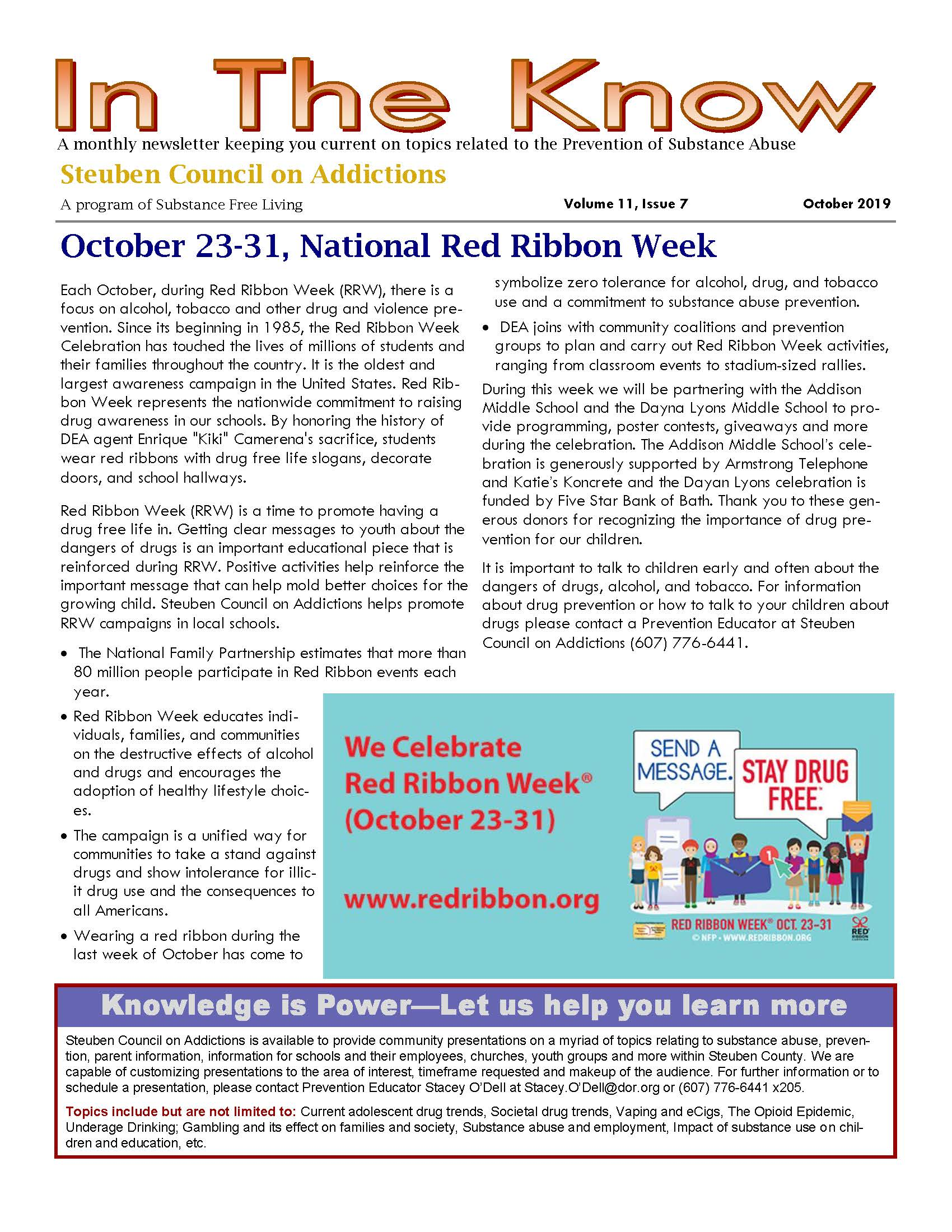 October 2019 Page 1 - In the Know - Steuben Council on Addiction News