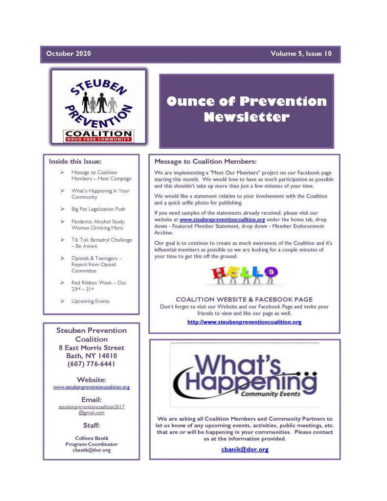 October 2020 Newsletter Page 1 791x1024 - Steuben Prevention Coalition - Ounce of Prevention (October)
