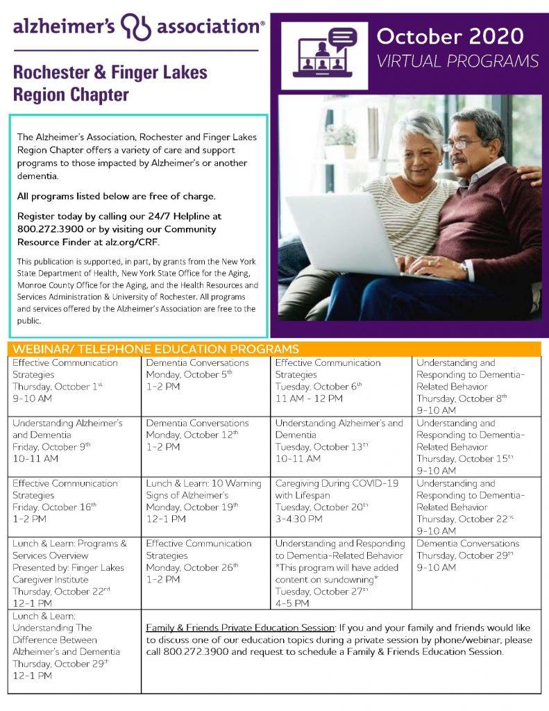 October Calendar 1 Page 1 791x1024 - Alzheimer's Association October Virtual Program Schedule