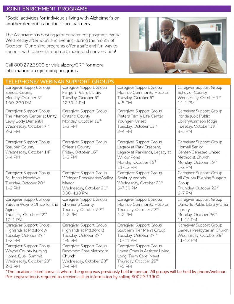 October Calendar 1 Page 3 791x1024 - Alzheimer's Association October Virtual Program Schedule
