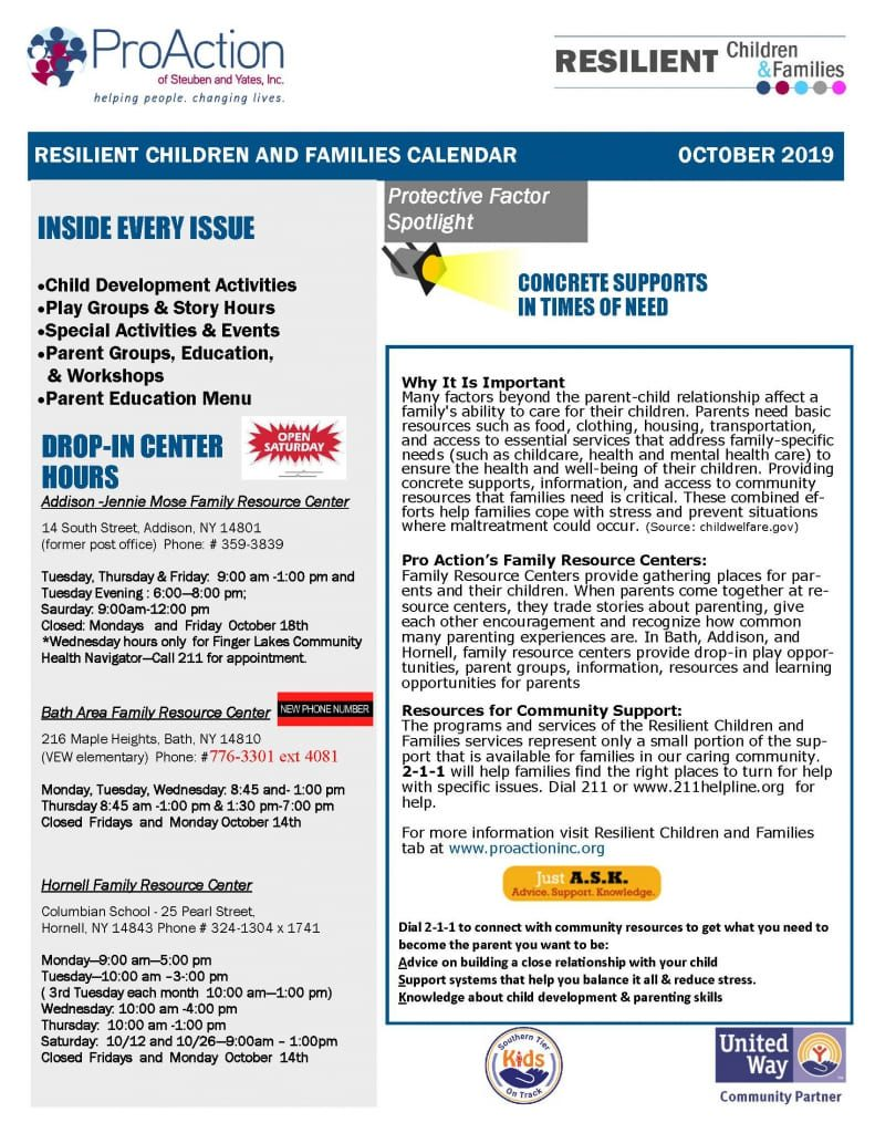 October 2019 Resilient Children and Families Community Calendar Page 1 791x1024 - ProAction Resilient Children and Families Calendar