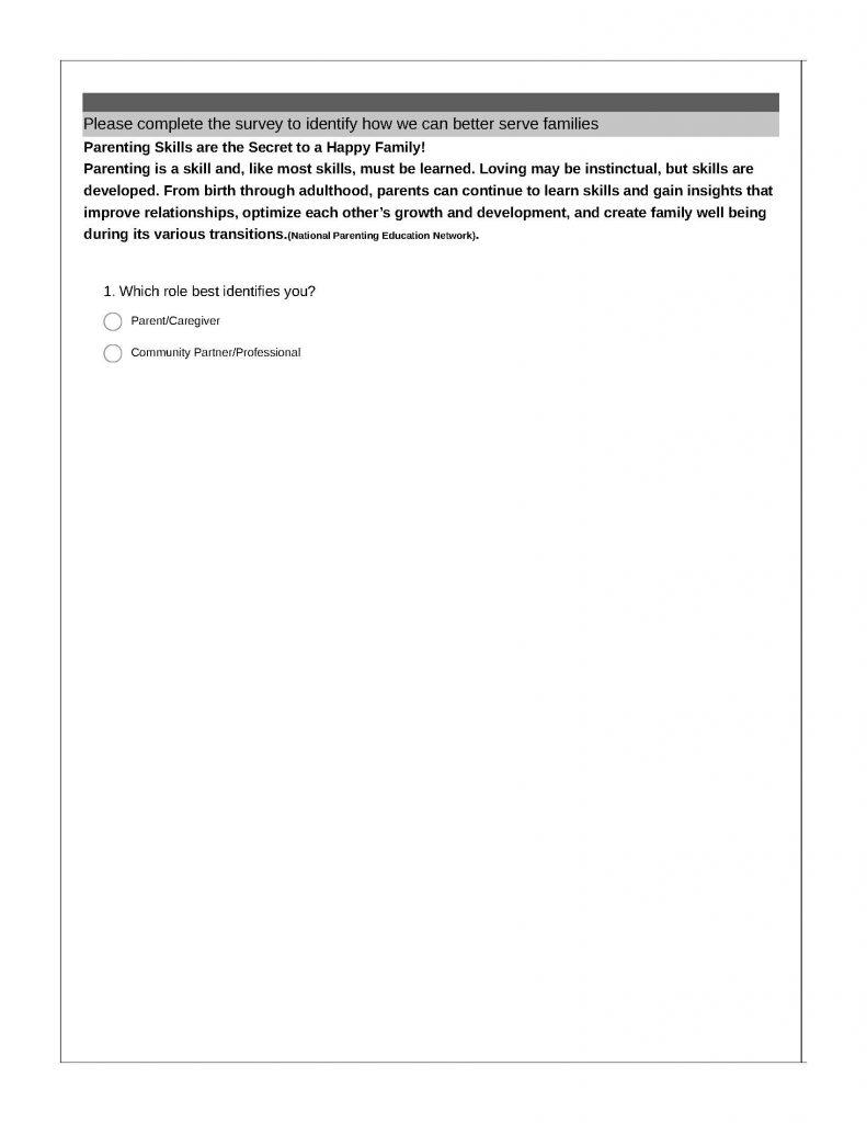 Parent Education Communty Survey Page 1 791x1024 - ProAction Parenting Education Community Survey