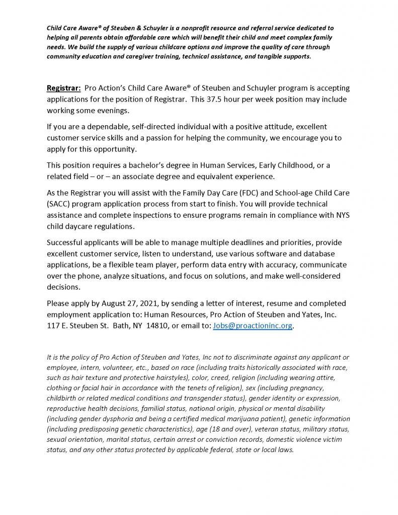 Registrar August.2021 791x1024 - Job Post: Registrar - ProAction Child Care Aware (Full Time)