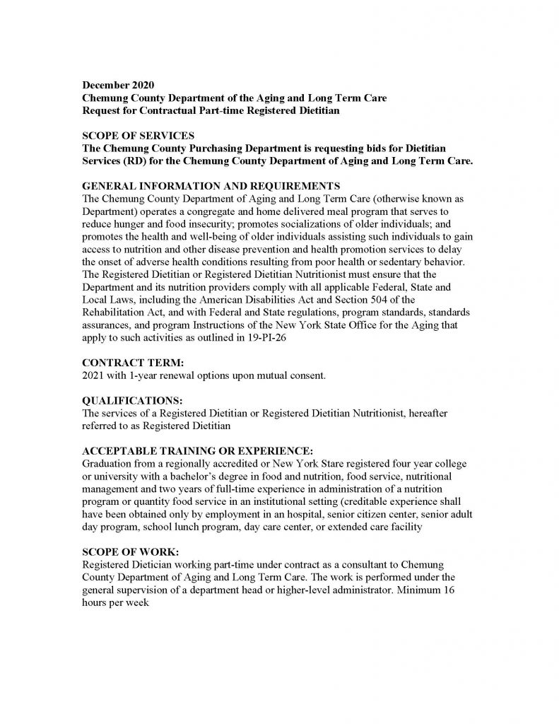 Request for Registered Dietitian Chemung Page 1 791x1024 - Job Post: Dietitian (Part-Time) Chemung County