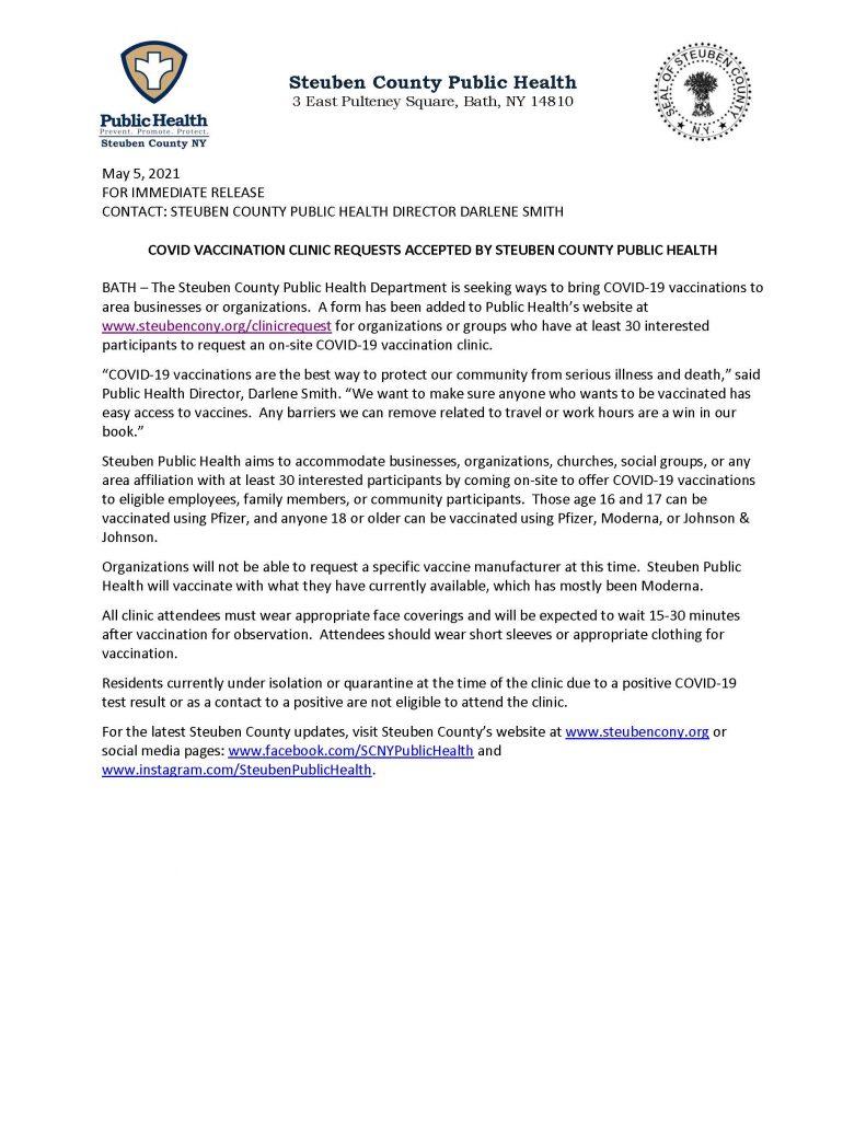 SCPH Accepts Vaccine Clinic Requests 050521 791x1024 - Steuben Public Health Now Accepting Vaccine Clinic Requests