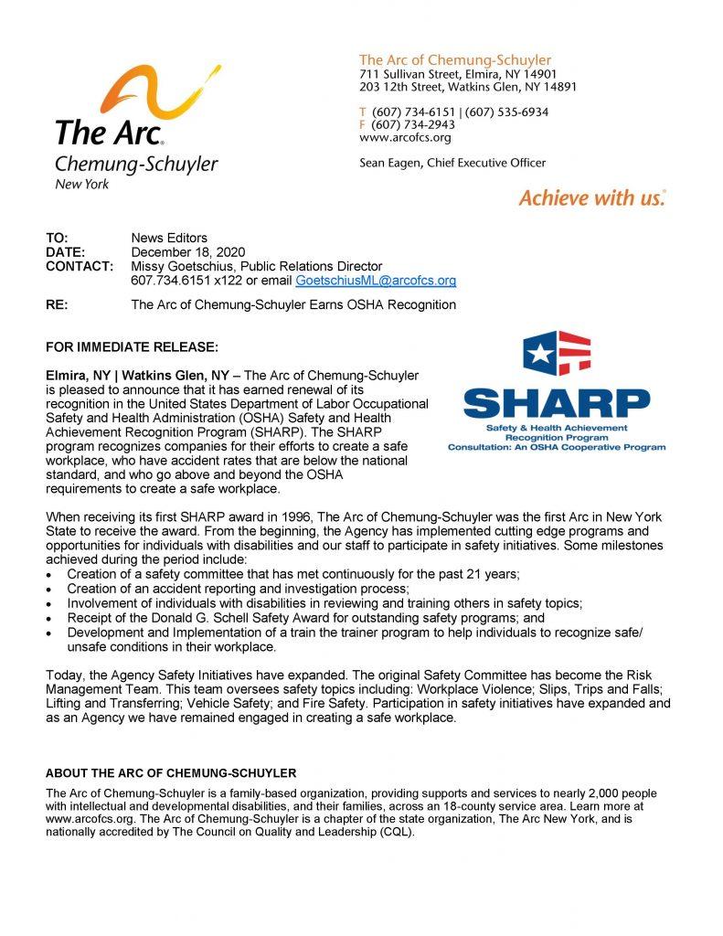 SHARPAward2020 791x1024 - Arc of Chemung-Schuyler Earns OSHA Recognition