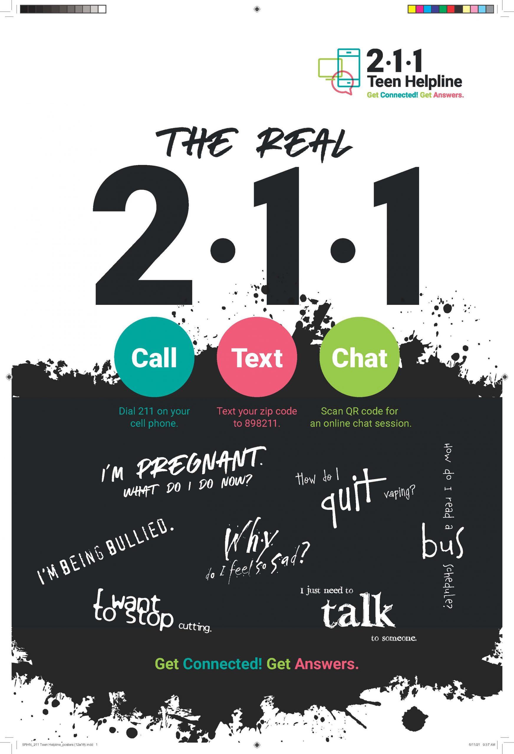 SRHN 211 Teen Helpline posters 12x18 press Page 01 scaled - 2-1-1 Teen Helpline