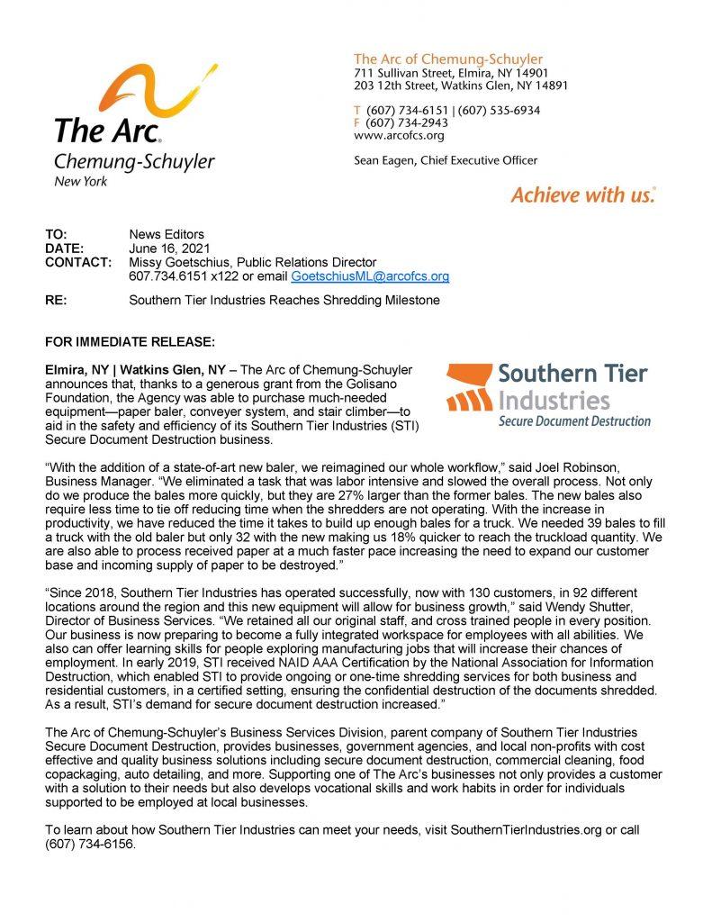 STI Baler 791x1024 - Grant Facilitates Southern Tier Industries Shredding Milestone