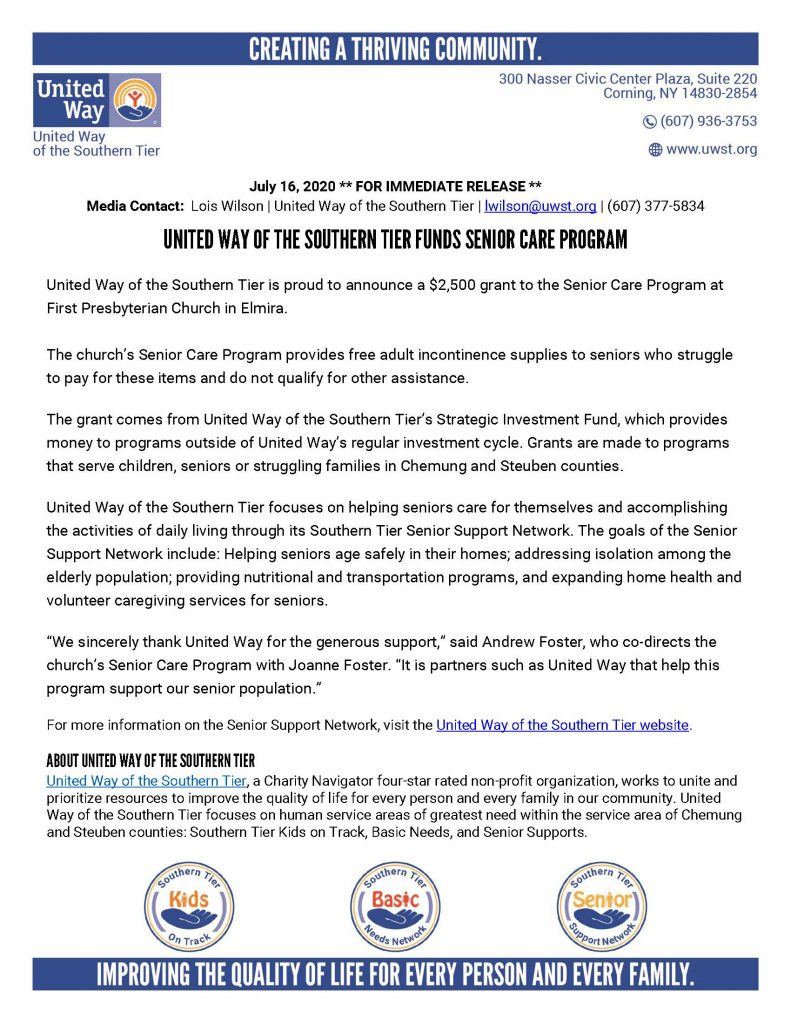 Senior Care Program Grant 791x1024 - Good News for Local Senior and Child Programming From United Way