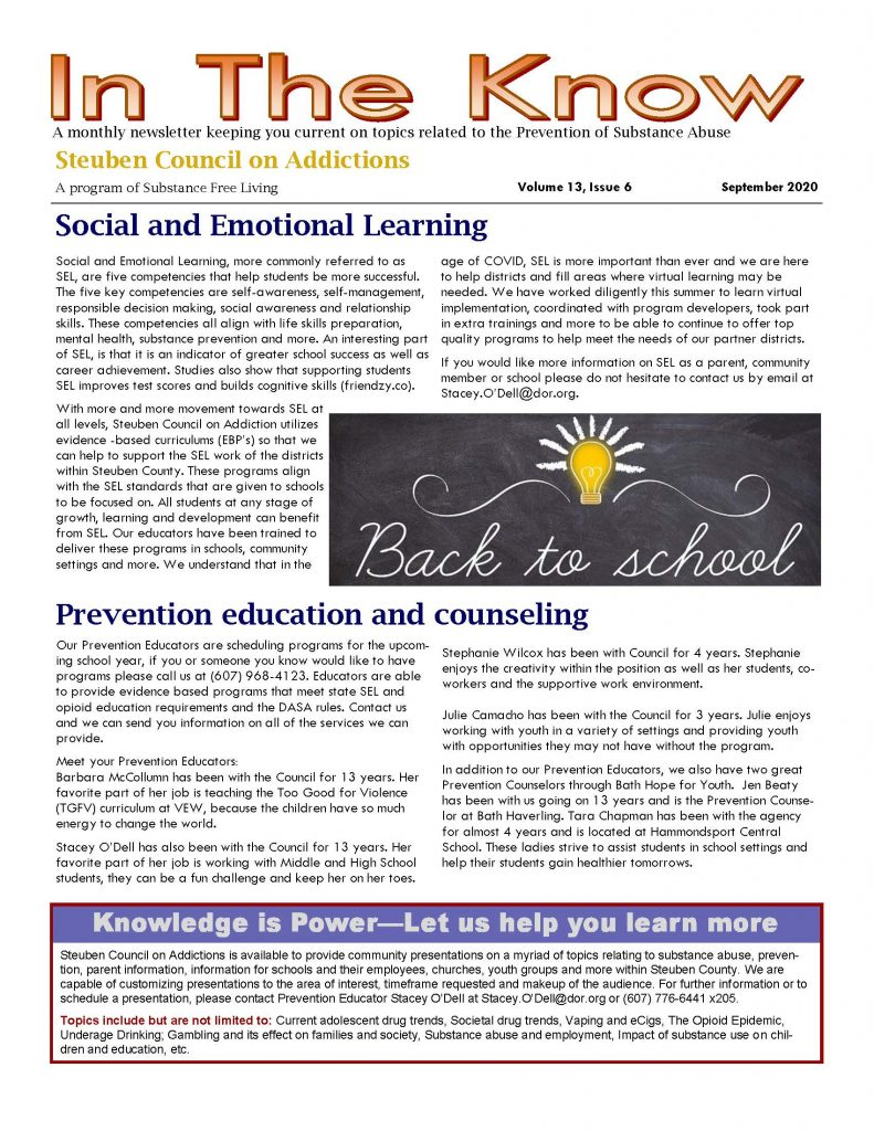 September 1 Page 1 791x1024 - Steuben Council on Addictions - In the Know (September)