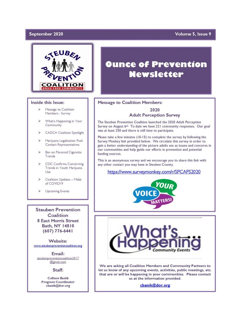 September 2020 Newsletter 1 Page 1 791x1024 - Steuben Prevention Coalition - Ounce of Prevention (September)