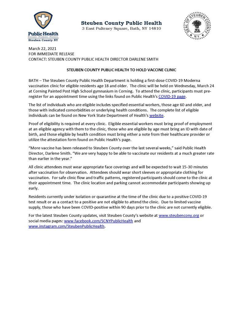 Steuben Clinics 032421 791x1024 - Steuben County Announces New COVID Vaccine Clinic Date