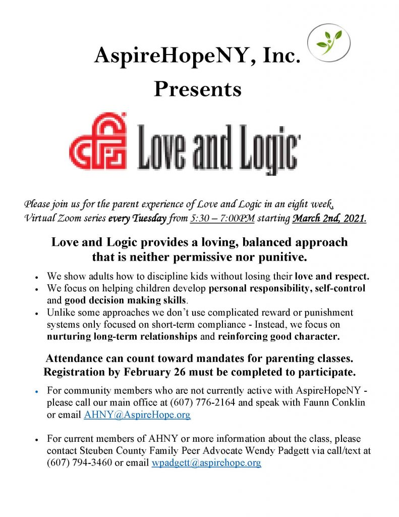 Steuben County Love and Logic flyer March 2021 791x1024 - AspireHopeNY Presents Love and Logic