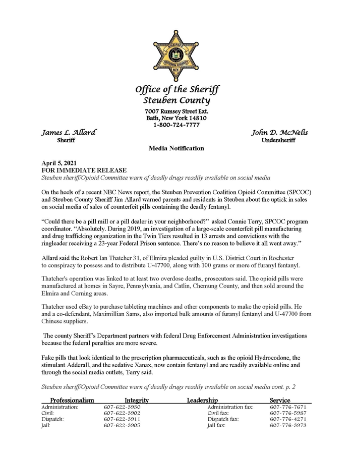 Steuben sheriff.Opioid Committee warn of deadly drugs readily available on social media Page 1 - Sheriff Updates Opioid Committee on Drugs Peddled on Social Media