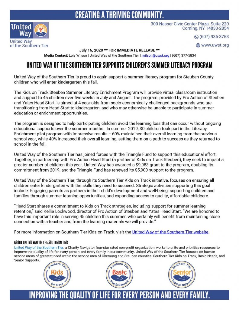 Summer 2020 Literacy Enrichment Grant 791x1024 - Good News for Local Senior and Child Programming From United Way