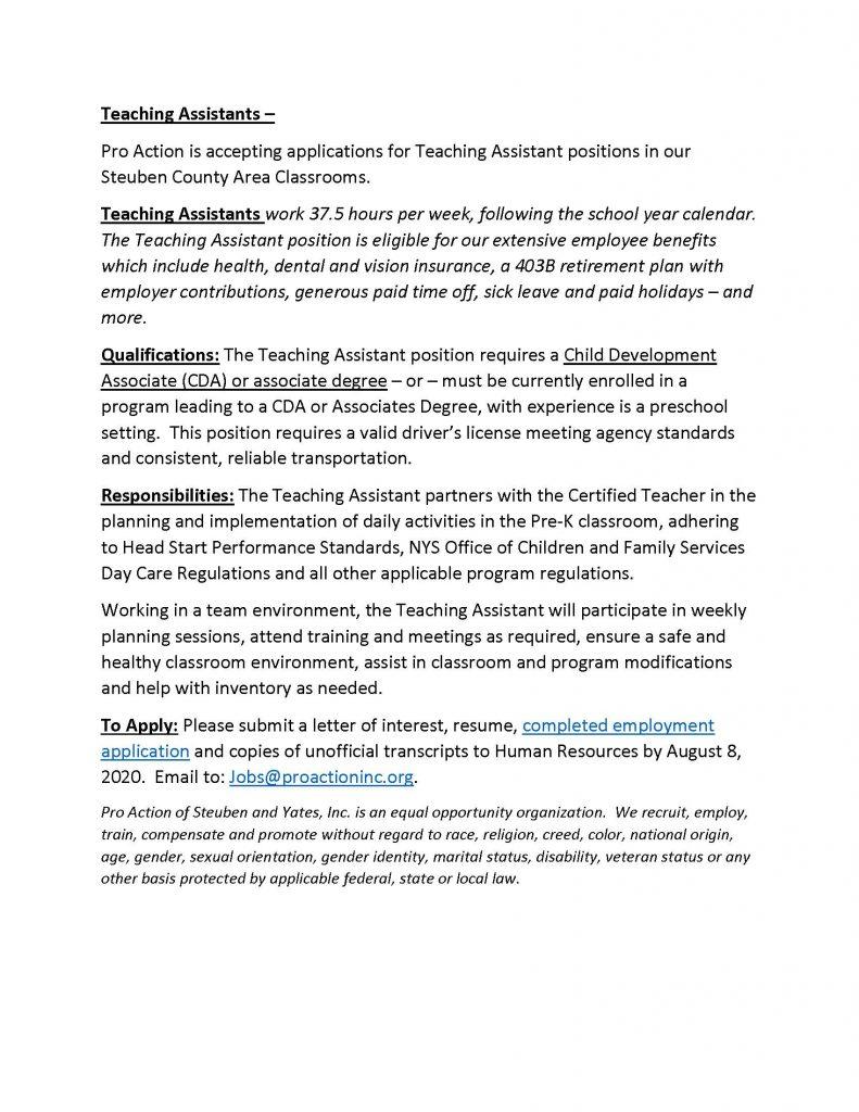 Teaching Assistants July.27.2020 791x1024 - Job Post: ProAction Seeks Teaching Assistants (Steuben County)