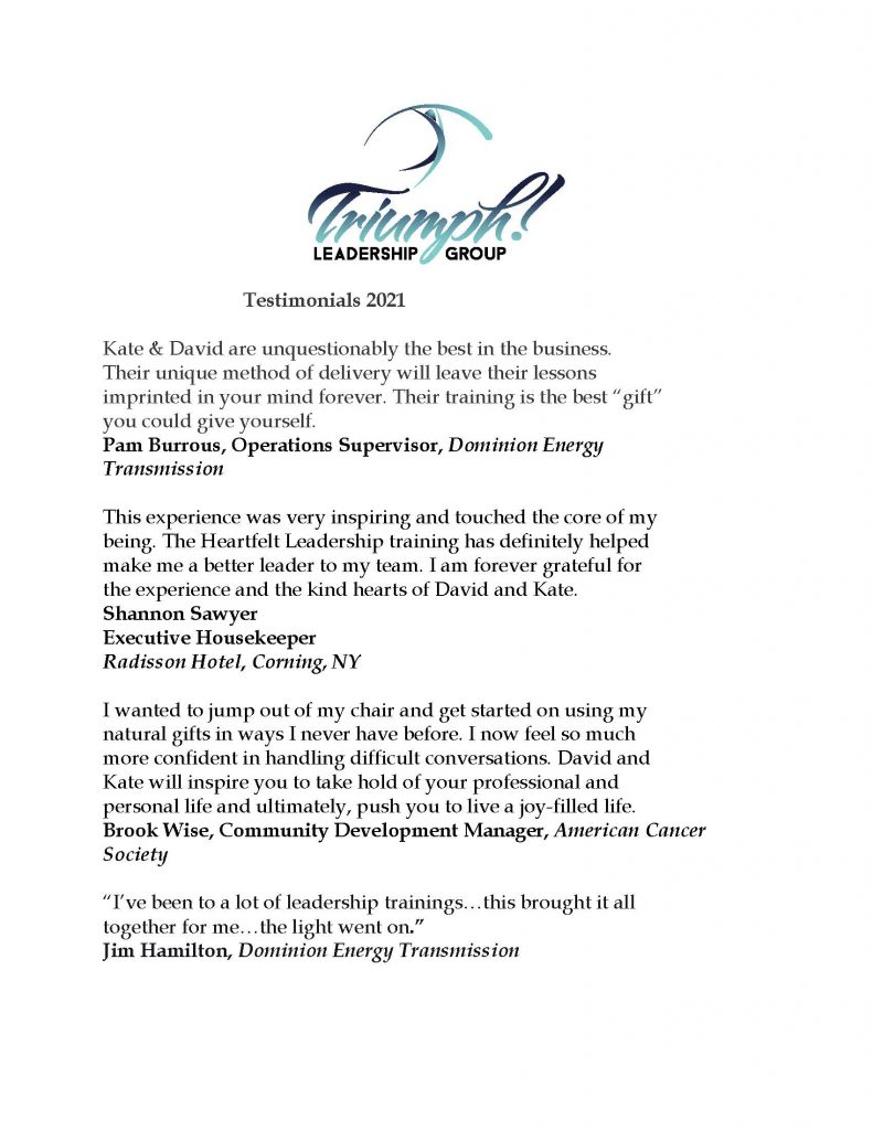 Testimonials 2021 1 Page 1 791x1024 - Professional Development Opportunities from Triumph Leadership Group