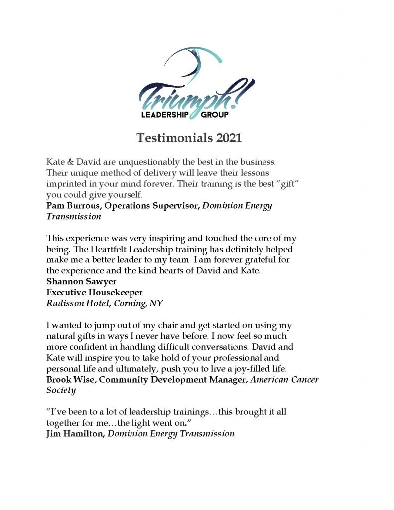 Testimonials 2021 Page 1 791x1024 - Stress-Free Leadership Sessions w/ Triumph Leadership Group