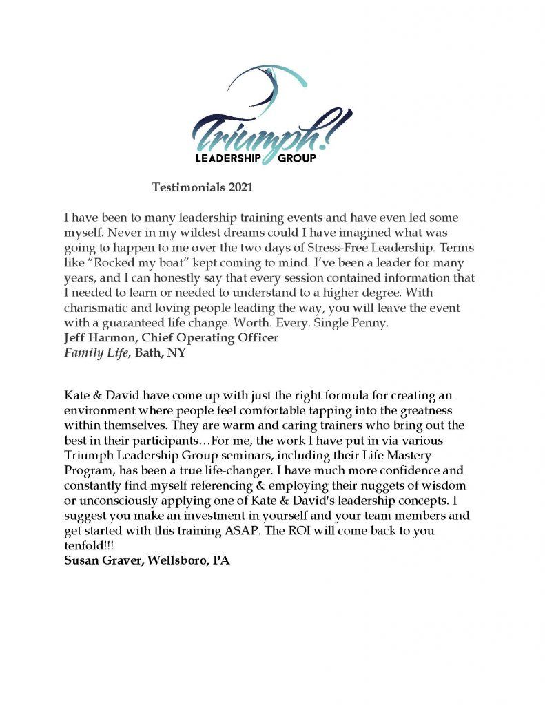Testimonials REV July 2021 Page 01 791x1024 - Stress Free Leadership Training by Triumph Leadership Group