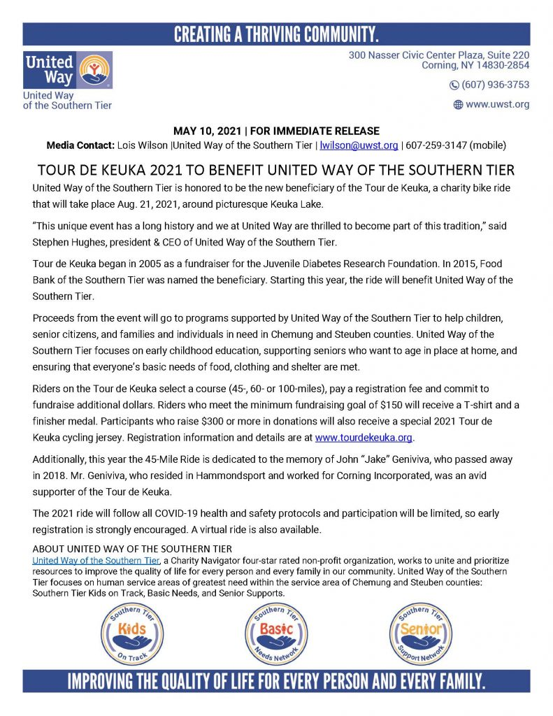 Tour de Keuka 2021 Announcement 791x1024 - Tour De Keuka Returns to Benefit United Way of the Southern Tier