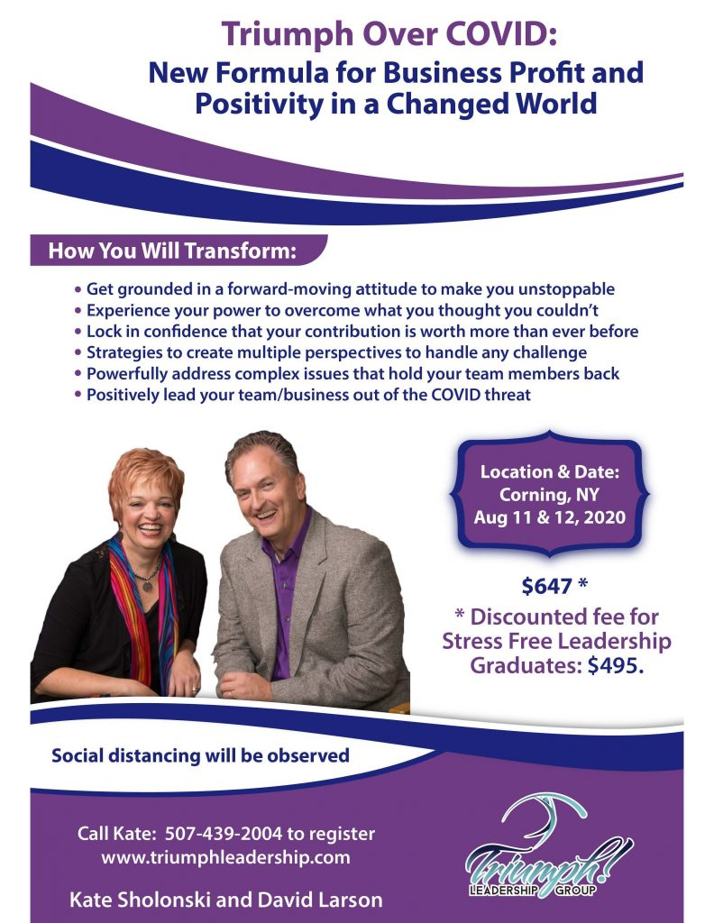 Triumph Over COVID Flyer  792x1024 - Triumph Leadership Offers Socially Distanced Presentations